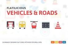 Vehicles & Roads Flat Icons