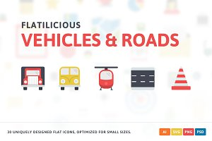 Vehicles & Roads Flat Icons