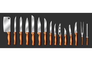 Knives vector butcher meat knife set