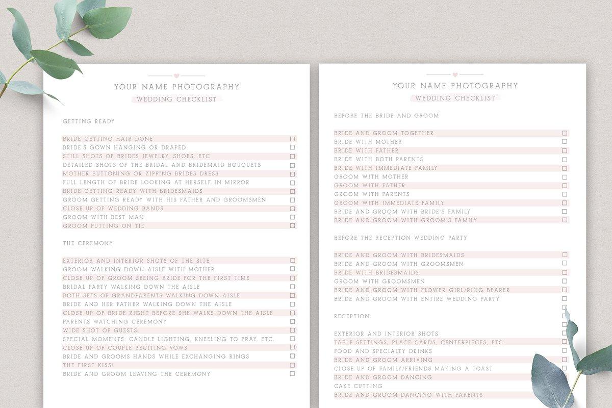 Wedding Checklist Template.Wedding Photography Checklist