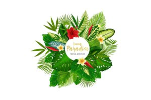 Tropical palm leaves and flowers