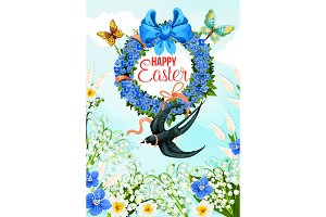 Easter greeting with flower wreath