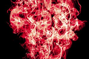 Burning red flame of red color
