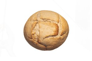 Above view of small fresh bread isol