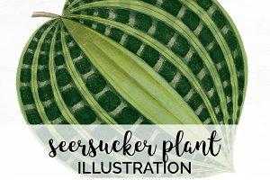 Plant Green Seersucker Leaf Vintage