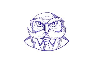 Angry Owl Man Mustache Doodle