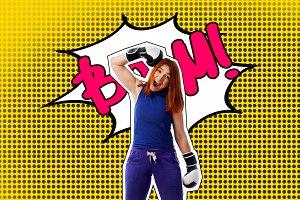 Pop art sport portrait of a woman