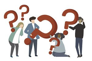 People holding question mark icons