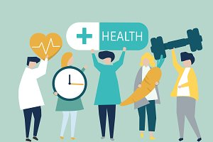 People holding health icons