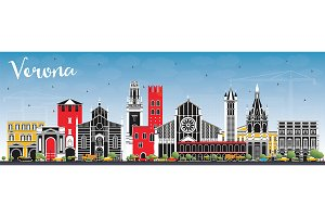 Verona Italy City Skyline with Color