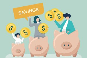 Family with savings and piggy bank