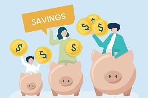 Family with savings and piggy banks