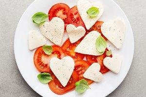 Italian caprese salad for valentines