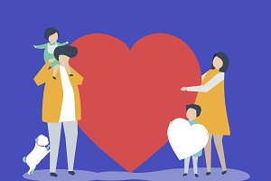 Family holding a heart illustration