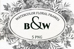 B&W Watercolor Wedding Clip Art.