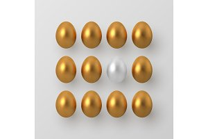 3d metallic golden and white eggs.