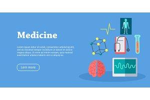 Medicine Science Banner. Health Care