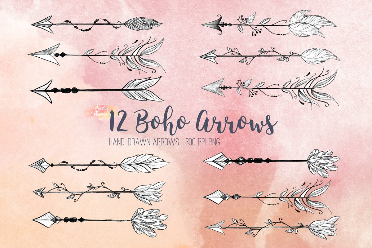 Arrow boho. Hand drawn arrows clipart