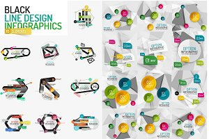 Line design infographic collection