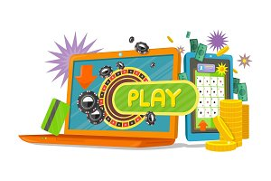 Online Games Banner with Laptop and
