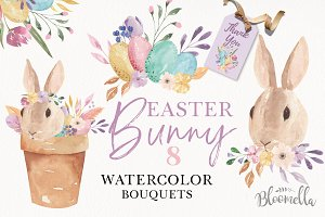 Easter Bunny Pastel Eggs Clipart Kit