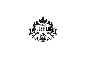 Angler / Fishing Emblem Logo design