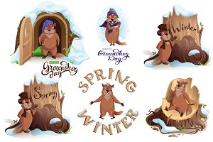 Groundhog Day set vector cartoon