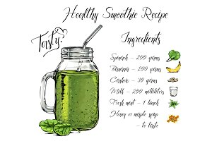 Healthy tasty smoothie recipe, jar