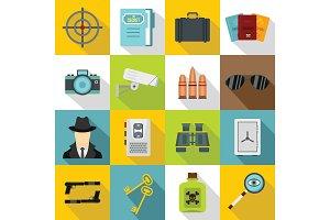Spy tools icons set, flat style