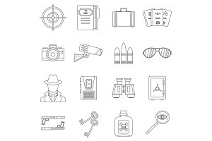Spy tools icons set, outline style