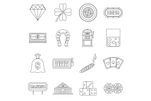 Casino icons set, outline style