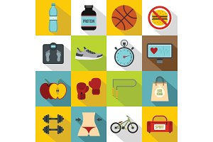 Healthy life icons set, flat style