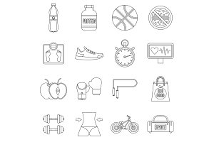 Healthy life icons set, outline