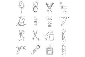 Hairdressing icons set, outline