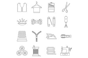 Sewing icons set, outline style