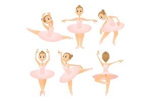 Ballerina girl concept set, cartoon