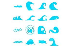 Waves icons set, flat style