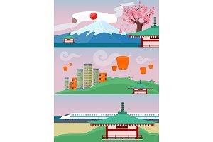 Japan Travelling Banner. Japanese