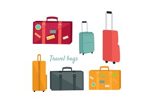 Set of Travel Suitcases and Bags