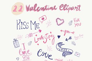 22 Valentine's Day Clipart Elements