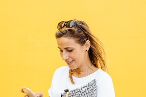 Portrait of a girl using the phone