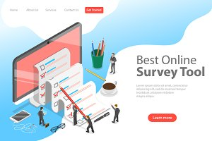Landing page of online survey tool