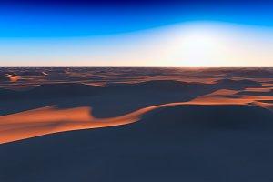 Dramatic sunset at desert 3d renderi