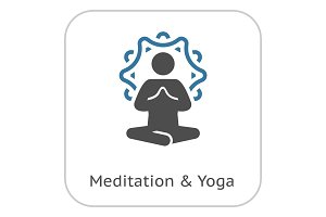 Yoga Meditation Icon. Flat Design