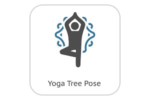 Yoga Fitness Tree Pose Icon. Flat