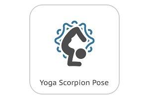 Yoga Scorpion Pose Icon. Flat Design