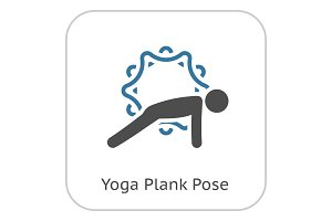 Yoga Plank Pose Icon. Flat Design