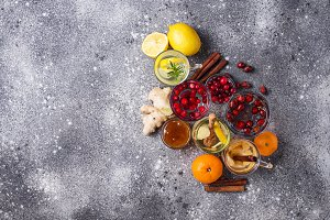 Assortment of winter healthy tea for