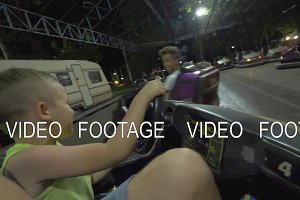 Child having fun with driving bumper