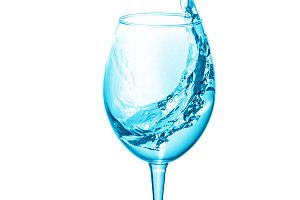 Wine glass with water inside, water